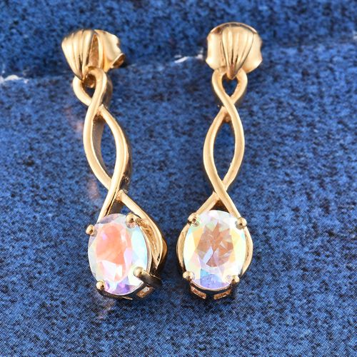 Mercury Mystic Topaz (Ovl) Earrings (with Push Back) in 14K Gold Overlay Sterling Silver 2.750 Ct.