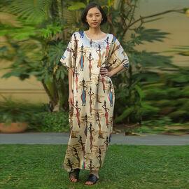Winlar Afrocentric Sistas Pattern Beige Long Kaftan (One Size)