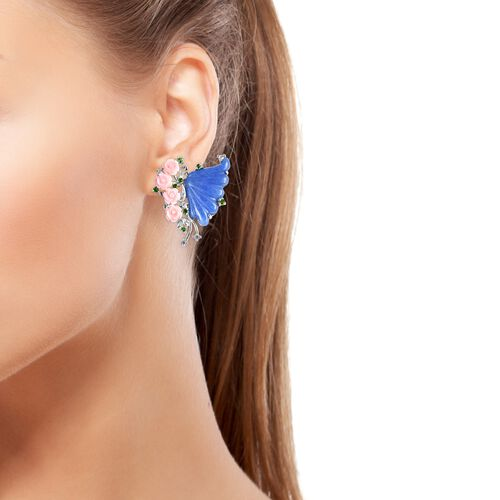 Blue Jade and Multi Gemstone Butterfly and Floral Stud Earrings in Sterling Silver 30.22 Ct, Silver wt 8.50 Grams