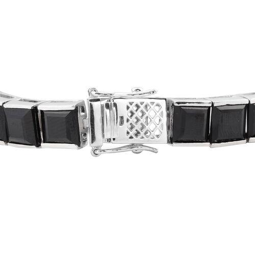 Boi Ploi Black Spinel (Sqr) Bracelet (Size 7.5) in Rhodium Overlay Sterling Silver 65.78 Ct, Silver wt 19.70 Gms