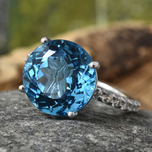 TJC Launch - Marambaia Topaz (Rnd 14 mm 13.00 Ct), Natural Cambodian Zircon Ring in Platinum Overlay Sterling Silver 14.750 Ct.