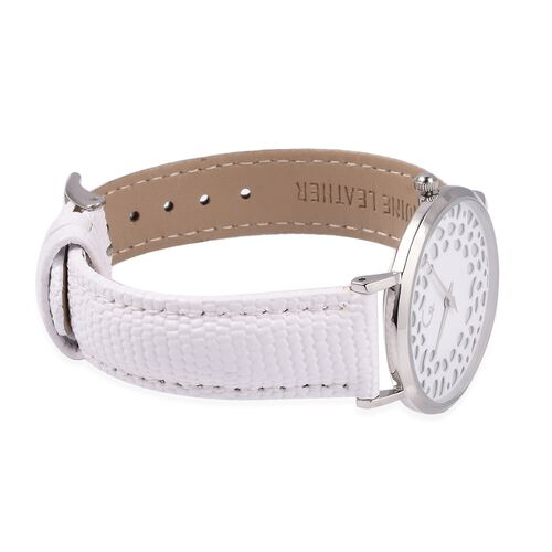 RACHEL GALLEY Diamond Studded Swiss Movement Watch With Embossed Genuine Leather Strap, Lattice Detail MOP Dial And Sapphire Glass Cover With Stainless Steel Back And 5 ATM Water Resistancy (White)