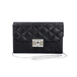 Black Colour Crossbody Bag with Clasp Lock (Size 22x6.5x14 Cm)