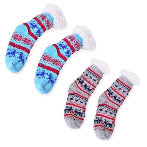 Set of 2- Blue, Grey and Multi Colour Floral and Reindeer Pattern Socks (Size 22X22 Cm)