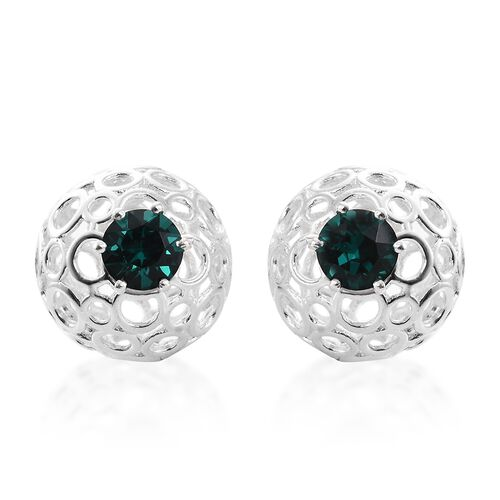 Set of 3 -  J Francis Crystal from Swarovski - White Colour Crystal (Rnd), Aquamarine Colour Crystal and Emerald Colour Crystal Stud Earrings (with Push Back) in Sterling Silver.Silver Wt 8.25 Gms