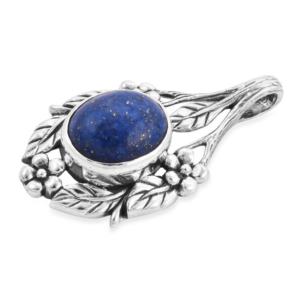Royal Bali Collection - Lapis Lazuli Floral Leaf Pendant in Sterling Silver 4.60 Ct.