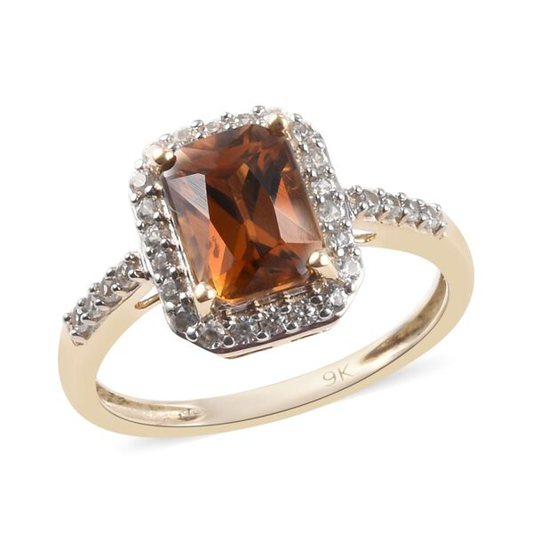 Red and White Cambodian Zircon Halo Ring in 9K Yellow Gold