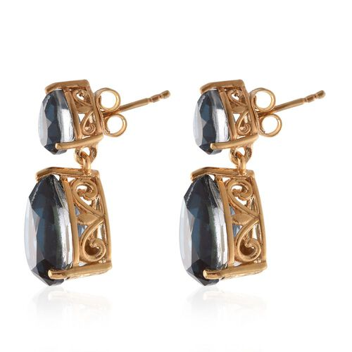 Indicolite Quartz (Pear) Tear Drop Earrings (with Push Back) in 14K Gold Overlay Sterling Silver 13.500 Ct.