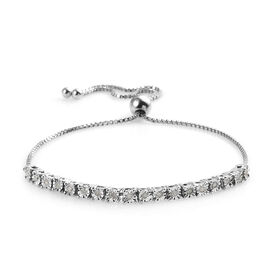 Diamond (Rnd) Adjustable Bolo Bracelet (Size 6.5 - 9.5) in Platinum Overlay Sterling Silver 0.26 Ct,