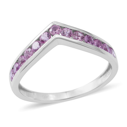 Limited Edition- 9K White Gold AAA Pink Sapphire (Rnd) Wishbone Ring 1.250 Ct.