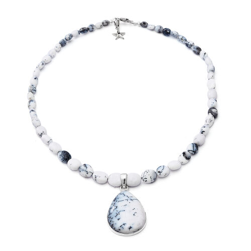 GP 150.03 Ct Dendritic Opal Teardrop and Beaded Necklace with Star Charm in Platinum Plated Silver