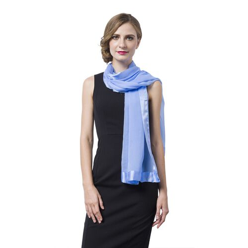 100% Mulberry Silk Blue Colour Scarf with Satin Border (Size 160X60 Cm)