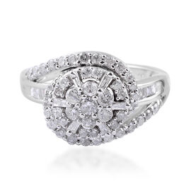 1 Carat Diamond Cluster Ring in 9K White Gold 4.50 Grams