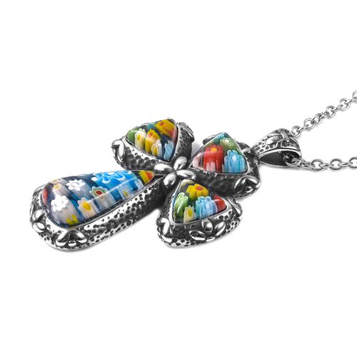 Murano Style Glass Cross Pendant with Chain (Size 20) in Stainless Steel