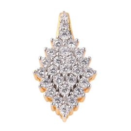ELANZA Simulated Diamond (Rnd) Cluster Pendant in Dual Tone Overlay Sterling Silver