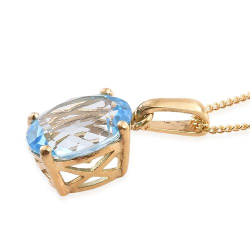 Sky Blue Topaz 3.25 Carat Solitaire Silver Pendant with Chain in 14K Gold Overlay