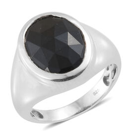 Black Tourmaline (Ovl 16x12 mm) Ring in Platinum Overlay Sterling Silver 8.500 Ct, Silver wt 5.49 Gm