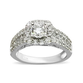 1.25 Ct Diamond Cluster Ring in 14K White Gold 5.40 Grams I1 I2 GH