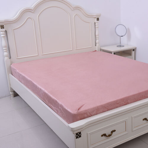 Serenity Night Dusky Pink Fitted Sheet (Size 140x190+30cm) - DOUBLE