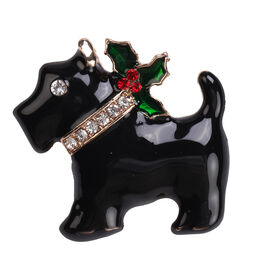 Christmas Red and White Austrian Crystal Dog Enamelled Brooch in Yellow Gold Tone
