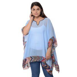 Designer Inspired-Sky Blue Colour Kimono with Chevron Pattern Border (Size 78.7x86.3 Cm)