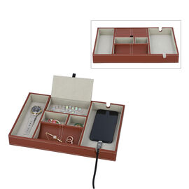 Mens 6 Section Portable Jewellery Organiser (Size 35x24x4Cm) - Brown