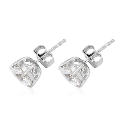 J Francis - Platinum Overlay Sterling Silver (Rnd) Stud Earrings (with Push Back) Made with SWAROVSKI ZIRCONIA (Equivalent Ct. wt 4.080)