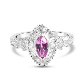 RHAPSODY 950 Platinum AAAA Pink Sapphire and Diamond (VS/E-F) Ring 1.33 Ct.