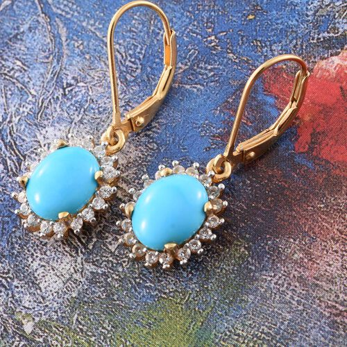 Limited Edition - AAA Arizona Sleeping Beauty Turquoise (Ovl), Natural Cambodian Zircon Lever Back Earrings in 14K Gold Overlay Sterling Silver 3.750 Ct.