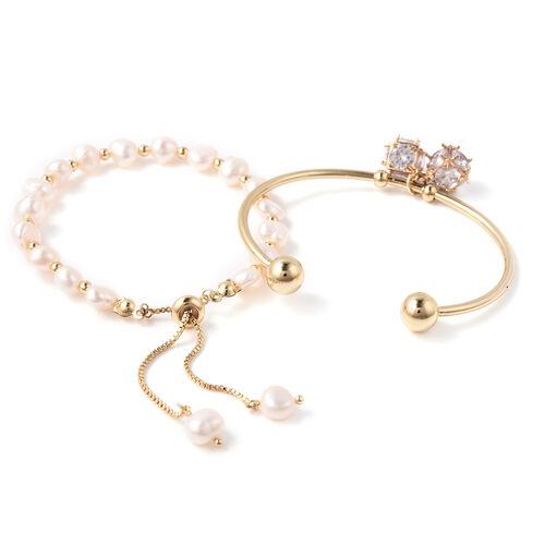 Set of 2 - Freshwater White Pearl, Simulated Diamond Bange (Size 7.5) and Adjustable Bolo Bracelet (Size 6-9.5) in Yellow Gold Tone