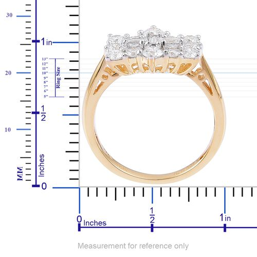 Super Auction- ILIANA 18K Yellow Gold IGI Certified Diamond (Rnd and Bgt) (SI/ G-H) Boat Cluster Ring 1.000 Ct.