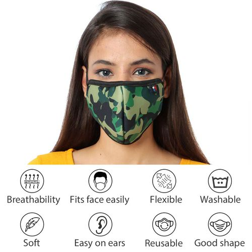 6 Layer Camouflage Pattern Reusable Face Covering (One Size) - Green