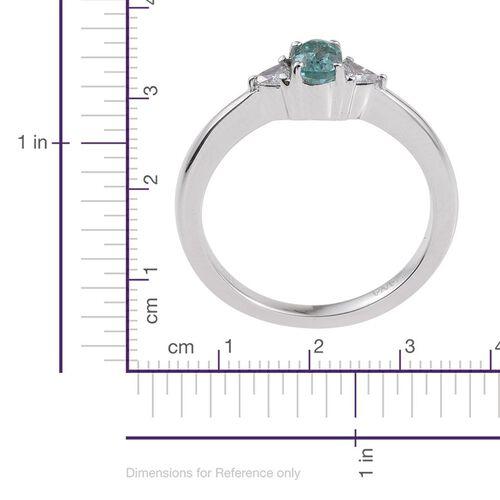 ILIANA 18K White Gold Mozambique Paraiba Tourmaline (Ovl), Diamond (SI G-H) Ring 0.750 Ct.