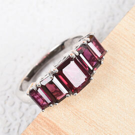 Rhodolite Garnet Ring in Platinum Overlay Sterling Silver 2.75 Ct.