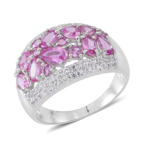 9K White Gold AA Pink Sapphire (Pear), Natural White Cambodian Zircon Ring 4.600 Ct.