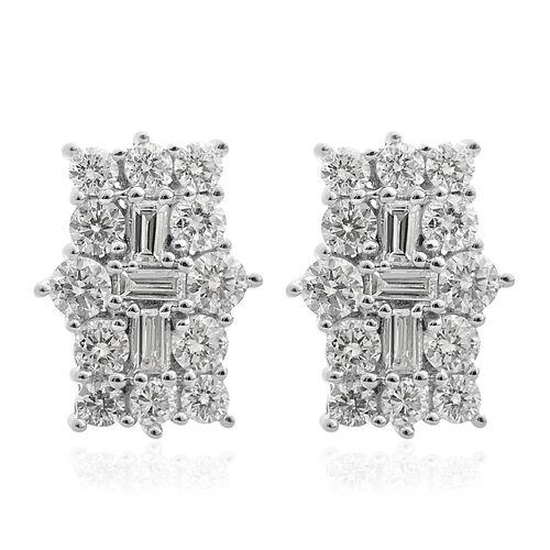 ILIANA 18K White Gold IGI Certified (SI/G-H) Diamond (Bgt and Rnd) Earrings (with Screw Back) 1.000