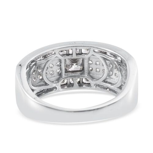 J Francis - Platinum Overlay Sterling Silver (Sqr) Ring Made with SWAROVSKI ZIRCONIA, Silver wt 6.23 Gms.