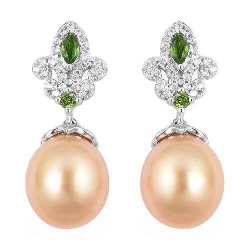 Golden South Sea Pearl and Cambodian Zircon Drop Earrings in Sterling Silver With Push Back