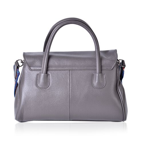 Designer Inspired-100% Genuine Leather Cashmere Grey Tote Bag with Colourful Shoulder Strap (Size 32x21x13 Cm)