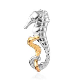 Platinum and Yellow Gold Overlay Sterling Silver Sea Horse Pendant