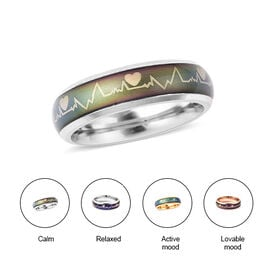 New Concept Mood Band Ring Heartbeats Design in Silver Tone