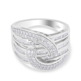 10K White Gold Diamond (I1/ G-H) Ring 1.04 ct, Gold wt 6.22 Gms