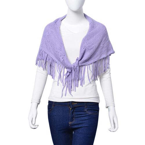 Dark Grey Colour Poncho with Tassels and Light Purple Colour Floral Pattern Scarf with Tassels (Free Size)