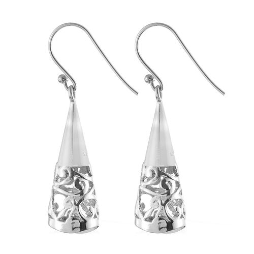 Designer Inspired-Vicenza Collection Rhodium Plated Sterling Silver Filigree Hook Earrings, Silver wt. 7.01 Gms.