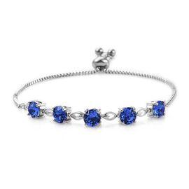 J Francis Crystal From Swarovski - Sapphire Colour Crystal (Rnd 6 mm) Bracelet (Size 6.5 - 9.5 Adjustable) in Platinum Plated