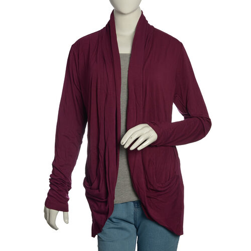 One Time Deal - Burgundy Colour Waterfall Pattern Cardigan (Free Size)
