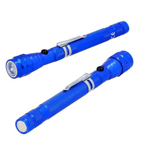 2 Piece Set - 360 Degree Flexible Head 3 LED Magnetic Flashlight (Size 17x2.2 Cm) (4XLR44 Battery Included) - Blue