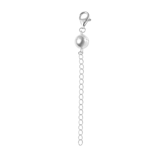 Magnetic Ball Clasp Extender in Rhodium Plated Sterling Silver 2 Inch