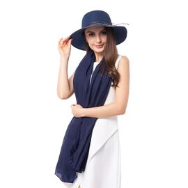 Navy Blue Solid Colour Scarf (Size 180x70 Cm) with Flower Pattern  Hat including Bowknot String (Siz