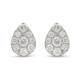 Super Find - 9K Yellow Gold SGL Certified Diamond (I3/G-H) Stud Earrings (with Push Back) 0.50 Ct.
